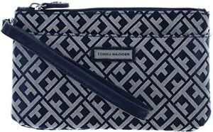 TOMMY HILFIGER Women's S Two Pocket Wristlet Wallet Wrist Strap Monogram TH $48