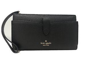 Kate Spade Leila Black Pebbled Leather Medium Universal Phone Wristlet Wallet