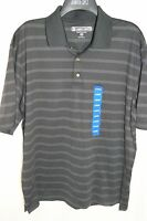 NWT Men's Pebble Beach performance Golf Athletic Polo Blue Black Striped dry fit