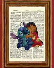 Lilo and Stitch Dictionary Art Print Poster Picture Book Disney Movie Character