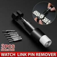 Metal Adjustable Watch Band Bracelet Repair Tool Link Pin Remover + 3 Pins UK ~