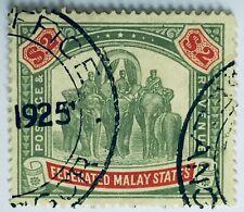 MALAYA 1907 FMS Elephants & Howdah $2 Used wmk MCCA SG #49 M2396