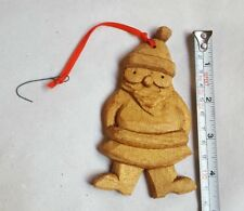 Carved wood wooden Santa Claus brown hanging Christmas Xmas tree Ornament used