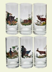 Set of 6 Juice glasses with animals deer boar rabbit pheasant new