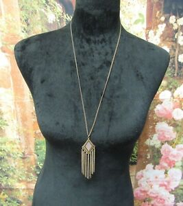 """Dark Chain Necklace with a Gold Diamond Shape with Dangling Chains Pendant 28"""""""