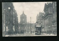 Lancashire Lancs LIVERPOOL Castle St and Town Hall Tram PPC Used 1905