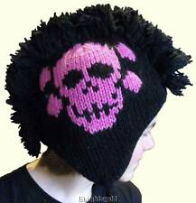 Beanie Mohawk Skull Cross Bones Adult Unisex Hat Knit 100% Wool Polyfleece Lined