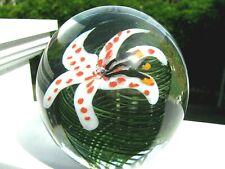 "VANDERMARK FLORAL PAPERWEIGHT: Tiger Lily, Deep Green Swirls,  3 5"", Initials"