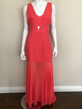BCBGMAXAZRIA NWT Coral V-Neck Cutout Mermaid Evening Gown Long Dress Size 08 NEW