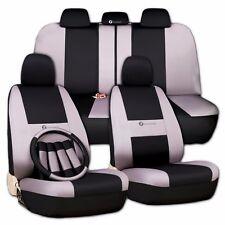 Zone Tech Car Seat Covers -Gray Black w/ Steering Wheel-Belt Pad-Head Rest Full