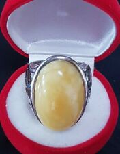 Genuine Royal White Butterscotch Baltic Amber Sterling Silver Cabochon Ring S9
