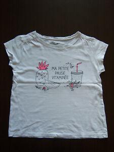 T-shirt manches courtes Vertbaudet blanc avec motifs, 8 ans