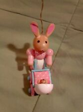 Wood, cloth, paint, glue, momma bunny and her baby, ornament