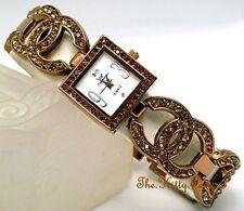 Unusual Bronze Brown Pltd Designer Dress Double Kiss Watch w/ Swarovski Crystals