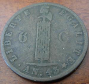 Haiti 1846 Copper 6 Centimes Fine