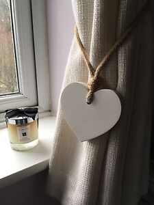 Pair Of Handmade Shabby Chic White Small Heart Curtain Tie Backs With Jute Rope