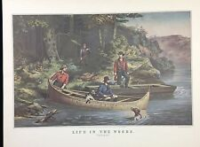 "1952 Vintage Currier & Ives ""LIFE IN THE WOODS"" HUNTING FISHING COLOR Lithograph"