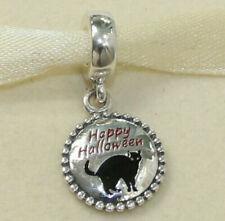 NEW AUTHENTIC PANDORA CHARM HALLOWEEN CAT DANGLE 791169_56 W SUEDE POUC