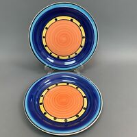 Multicolor Blue Yellow Orange Dinner Plates Lot of 2