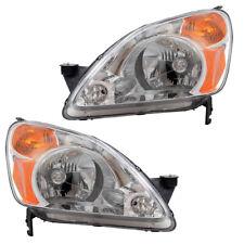 New Pair Set Headlight Headlamp Lens Housing Assembly for 02-04 Honda CR-V