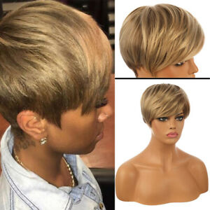 Fashion Women Blonde Short Straight Bob Wig Pexie Cut Synthetic Hair Full Wigs