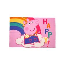 OFFICIAL PEPPA PIG HOORAY PINK SOFT FLEECE BLANKET GIRLS CHILDRENS