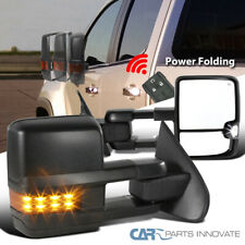 For 14-18 Sierra Power Fold Heated Black Side Tow Mirrors+Amber LED Signal