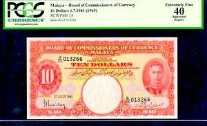 "MALAYA P13 $10 1941 (1945) ""KING GEORGE VI"" PCGS 40 Gorgeous Margins & Colors!"