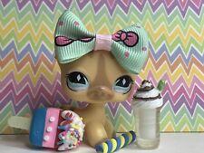 Auth Littlest Pet Shop # 886 Tan Striped Short Hair Cat Diamond Eyes Unicorn
