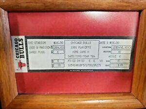 Chicago Bulls MICHAEL JORDAN 1991 NBA Playoffs Ticket Home GAME K Seat 18 framd