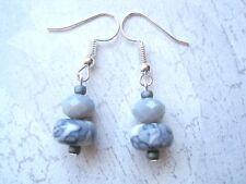 MOTTLED WHITE GREY JADE & FACETED CRYSTAL GLASS RONDELLE BEADED Glitzy Earrings