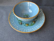 Vintage Molaroni Italy hand painted pomegranates grapes pottery tea cup saucer #