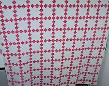 Spectacular Vintage Irish Chain Quilt, Victorian, Red & White, Superb Quilting