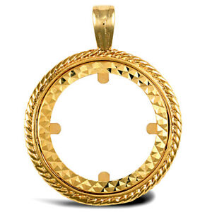 Jewelco London 9ct Gold Rope Edge Frame Half Sovereign Coin Mount Pendant