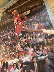 Vintage Michael Jordan Chicago Bulls 1980s Poster Soaring Dunk NBA Starline Vtg