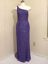 NWT Scala Diamond Cut Outs Sequin One Shoulder Beaded Purple Silk Dress Large