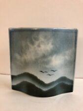 Virebent Porcelain Vase Blue Mountains Clouds Birds Made in France Art Pottery