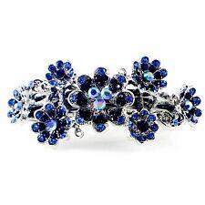 Vintage BARRETTE Rhinestone Crystal Hair Clip Hairpin Victorian Flower BLUE 5-15