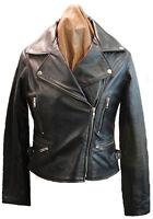 Black Ladies Biker Style Retro Leather Jacket