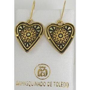 Damascene Gold Heart Star Drop Earrings by Midas of Toledo Spain Style 3193Star
