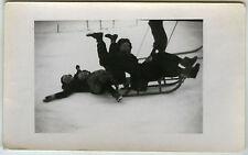 PHOTO ANCIENNE - NEIGE LUGE CHUTE DRÔLE RIRE CHAMONIX-SNOW SLED-Vintage Snapshot