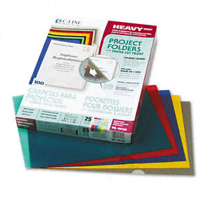C-Line Project Folders, Jacket, Letter, Poly, Assorted Colors, 25/Box CLI62130
