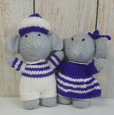 Crochet Elephants Plush Toy Gray Shorts Hat Dress Small Male Female Boy Girl