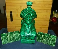 Vintage Aztec Mayan Green Decanter with 6 Shot Glasses VGUC