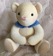 "7"" Hallmark Cards Plush Yellow Teddy Bear Blue Collar Stuffed Animal"