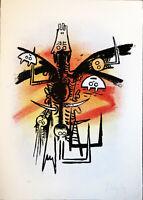 "Wifredo LAM ""Le Feu vert"" , 1974 original hand signed lithography"