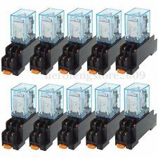 10pcs Coil Power Relay LY2NJ 12V DC DPDT 8 Pin HH62P JQX-13F SET + Socket Base