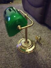 Vintage Bankers / Piano Brass Desk Lamp Green Glass shade w/ Pull Chain
