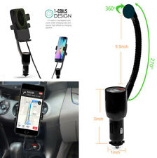 Universal Car Mount Holder Qi Wireless Phone Charger Dual USB Cigarette Lighter