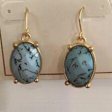 "BOSTON PROPER GORGEOUS Turquoise Blue Acrylic Bead 1.25"" Long Drop Earrings-NEW!"